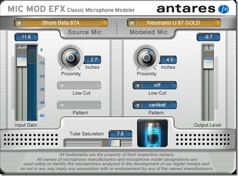 Antares社のマイクモデリングプラグイン「Mic Mod EFX」