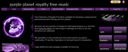 商用利用も可能な無料の音楽素材を配布している「Purple-Planet」